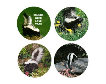Skunk   Magnets:  4 Sweet Skunks for your home, your collection,  or to give as a unique gift