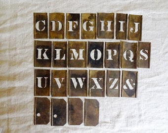 vintage brass stencil, single letter or number (Style No. 1)