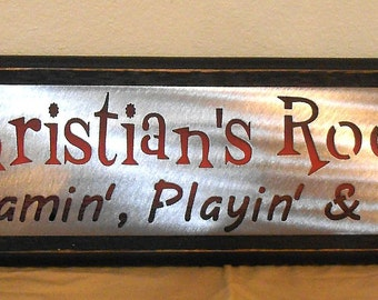 PERSONALIZED BOYS ROOM sign-  Gamin' Playin and Fun'