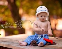 Blue Fly Fishing Pants and Ivory Hat, Photo Prop Set, 0 to 3 Month Baby Boy Costume