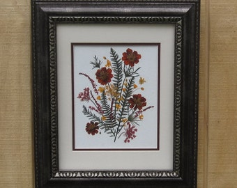 SALE! Rust and Gold pressed flower design in dramatic 15x18 frame