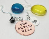 You Better Work Drag Queen - Charm Necklace - Hand Stamped Necklace - Personalized Jewelry - Sterling Silver Necklace - Custom Necklace