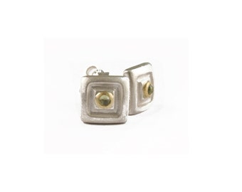 silver square studs with peridots