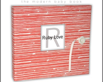 BABY BOOK | Coral Woodsy Stripe Album | Modern Baby Memory Book