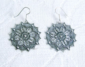 Large Round Antiqued Silver Filigree Earrings