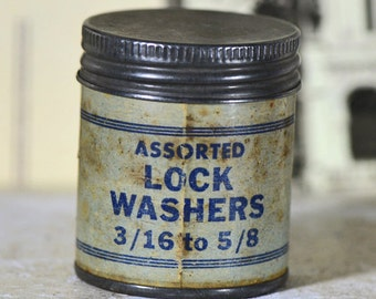 Antique LOCK WASHERS metal tin can... home decor... industrial style...   Laf
