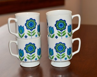 Midcentury Mugs - Flower Power Blue & Green - Set of 4