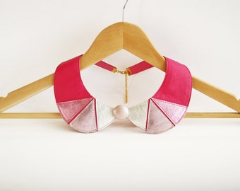 Leather Necklace Pink and Silver Peter Pan Detachable Collar Geometric Shapes Europeanstreetteam