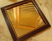Vintage Set of 2 Wall Mirrors - Matching - Wood Frames w/Gold Trim - 7 1/2 X 7 1/2 Square - Home Interiors - 1970 Era