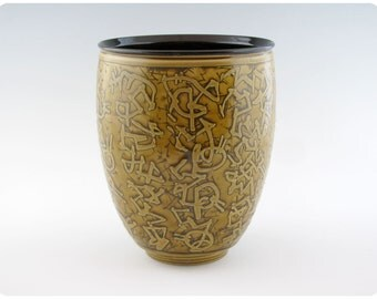 Etched Porcelain Vase With Calligraphic Design   Ceramics Pottery