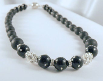 Black Onyx Choker, CZ Studded Beads with Crystal Ball Baubles