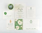 Hawaii and Beach Resort Wedding Invitation, Pineapple, Luau Girl, Hibiscus Flower, Wedding Announcement