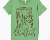 Faux Bois Bicycle Children T Shirt - Grass Green American Apparel and Hand Carved Design