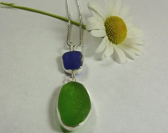 Seaglass Pendant in Cobalt Blue and Emerald Green