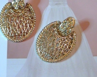 1970s Door Knockers 18k gold Plated Dangle Ladies Earrings Vintage  Excellent Condition Vintage 1970s  On SaLe Now