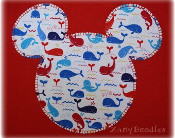 Boys' or Girls' Youth Custom Disney Inspired Applique Mickey Mouse Ears Silhouette Whales Tee Red T-Shirt Pick Your Size 12M - Youth XL