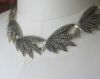 Faux Marcasite Necklace Eloxal Aluminum 1940's Goldtone Leaf Design