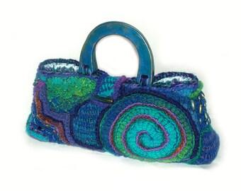 Blue Handbag Purse Tote Carry bag Freeform Crochet OOAK wearable art