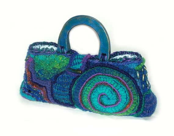 Freeform Crochet Handbag Purse Tote Carry Blue Bag OOAK wearable art