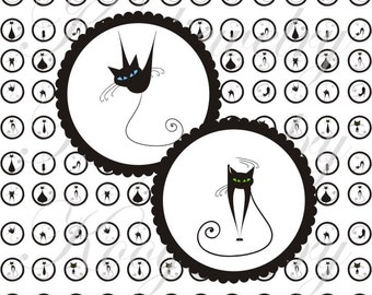 Black and white cats 12x12mm for pendant, , earrings, scrapbook and more Vintage Digital Collage Sheet No.1393
