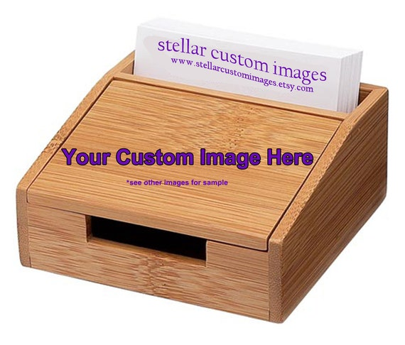 Bamboo desktop business card holder by stellarcustomimages for Bamboo business card holder