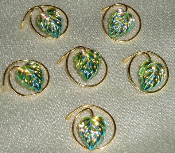 Wedding Hair Jewelry-Peridot Green Aurora-Glass Leaf Hair Swirls-6 Simulated Sparkling Hair Gems