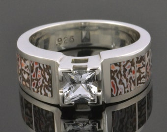 Wedding or Engagement Ring with Dinosaur Bone and a Princess White Sapphire in Sterling Silver by Hileman Silver Jewelry