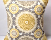 Medallion Pillow Cover Grey Yellow Pillow Decorative Throw Pillow Cushion Accent Pillow Gray Yellow