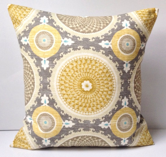 Medallion Pillow Cover Grey Yellow Pillow Decorative Throw Pillow ...