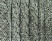 2461D -- Knit Cable Look , Diamond and Rib Print Fabric in Gray Asparagus , Wash Effect Look , Japanese Cotton, Cosmo Textile