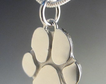 Engravable Small Ruby Paw Print Necklace