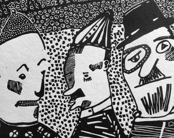 Brothers Karamazov Linocut Relief Print