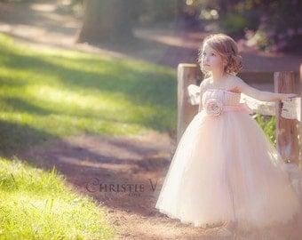 Pink Blush Flower Girl Tutu Dress with Flower Sash