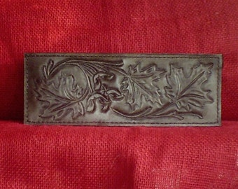 "Handmade Leather Wallet ""3 OAK LEAVES"" in Antique Black"
