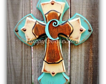 Wall Cross - Wood Cross - X-Small - Antiqued Turquoise & Beige, with Stain, and Initial