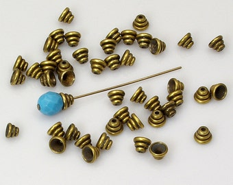 Beehive Bead Caps Solid Antiqued Brass 5mm Made in USA - 12