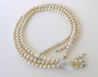 Vintage Japanese Beads Glass Pearls Ivory Cream Original 3 Strands 6mm vgp0266