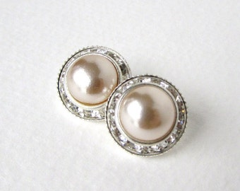 Vintage Glass Rhinestone Buttons Silver Pearl Shank Czech 16mm but0199 (2)