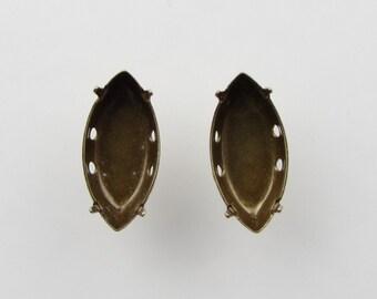 Prong Setting Antiqued Brass Ox Navette Rhinestone Sew On Closed Back 15x7mm set0194 (8)