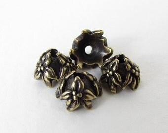 TierraCast Antiqued Brass Ox Bead Cap Flower Jasmine 7mm bcp0049 (4)