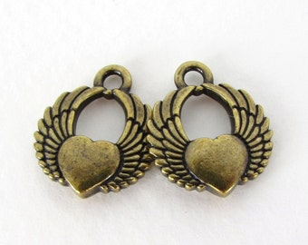 TierraCast Antiqued Brass Ox Charm Winged Heart Drop 18mm chm0333 (2)