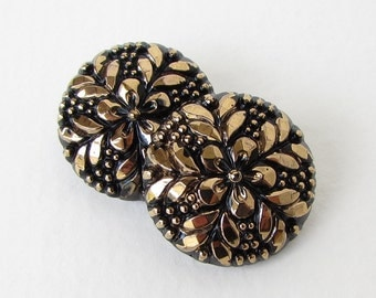 Vintage Czech Flower Buttons Gold Black Glass Sewing Shank 22mm but0280 (2)