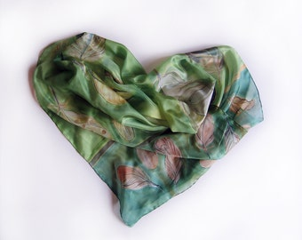 Feather silk scarf hand painted. Grass green handpaited scarf. Long fashion scarf in spring green. Scarf, shawl silk.