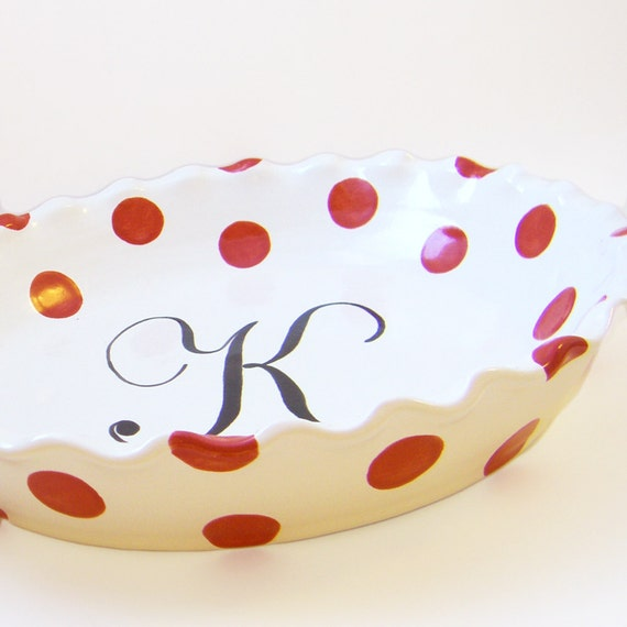 Polka Dot Pie Dish Personalized Pie Plate Polka Dot
