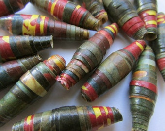 10 unique vintage sealed rolled paper vintage beads