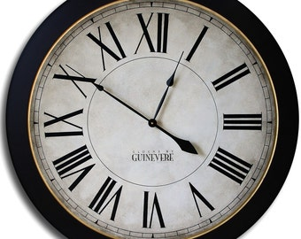 Large Wall Clock 36in MANCHESTER Linen w/ frame Family Heirloom w/ FREE INSCRIPTION!!