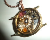 Steampunk Altered Art Watch Face Necklace/2 sided