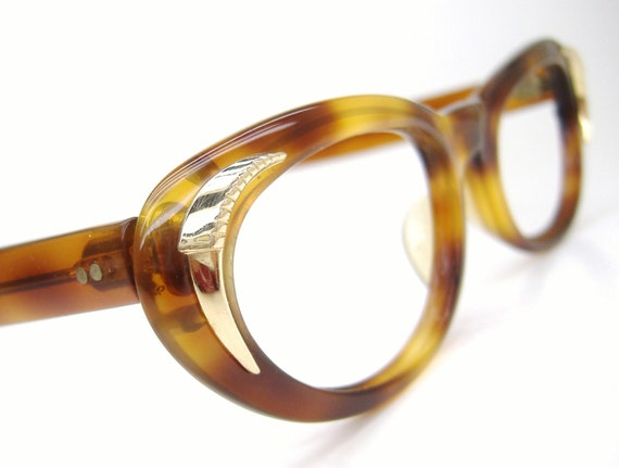 Cat eye Glasses Sunglasses Frame Vintage 50s Tortoise Brown