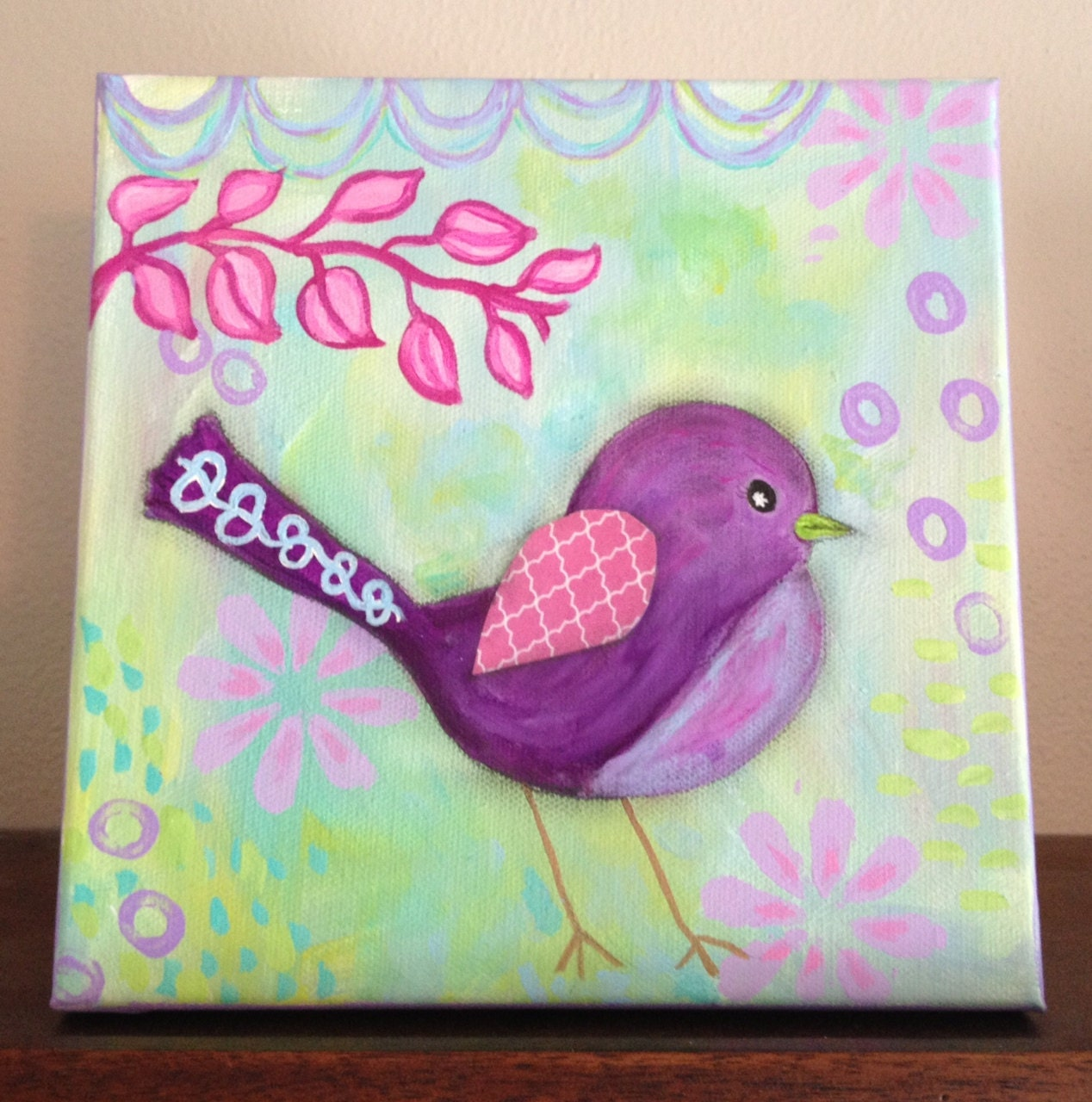 20 Whimsical Toddler Bedrooms For Little Girls: SALE Original Painting For Girl Purple Pink Whimsical Bird