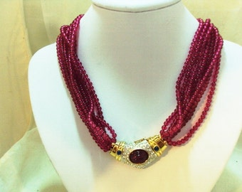 RUNWAY 8 Strand Cranberry Glass Bead Necklace Cabochon Rhinestone Focal Clasp